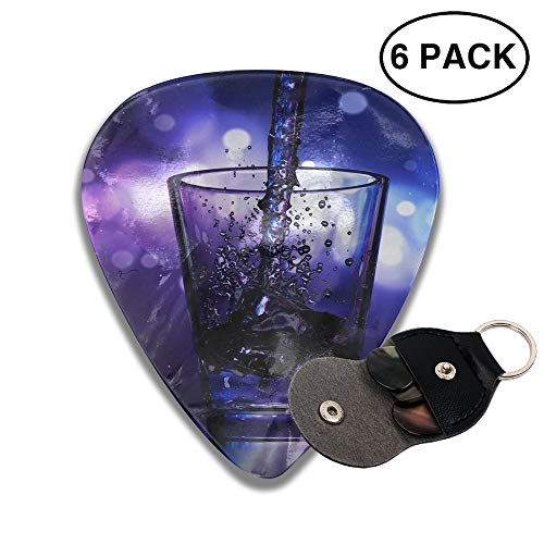 Colby Keats Guitar Picks Plectrums Liquor Wine Glass Classic Electric Celluloid Acoustic for Bass Mandolin Ukulele 6 Pack 3 Sizes .71mm -