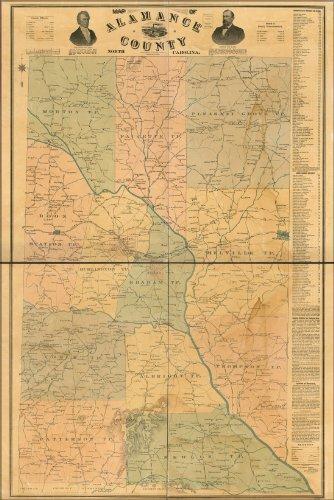 Poster Map Of Alamance County, North Carolina 1893 Antique Reprint