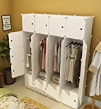 KOUSI Portable Clothes Closet Wardrobe Bedroom Armoire Storage Organizer with Doors, Capacious & Sturdy. 20 cube White