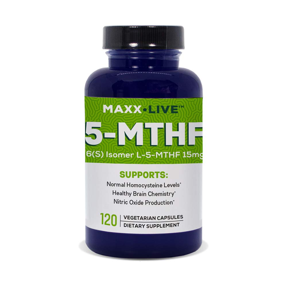 Maxx Live 5-MTHF Top Quality L-Methylfolate 15MG Professional Strength Active Folate None GMO Gluten Free 120 Capsules