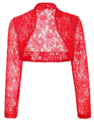 Elegant Wedding Bolero Wrap Jacket for Brides (XL,Red)