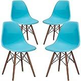 Poly and Bark EM-105-WAL-AQU-X4 Eames Style DSW Side Chair with a Walnut Base (Set of 4), Aqua