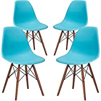 Poly and Bark Vortex Side Chair Walnut Legs, Aqua, Set of 4