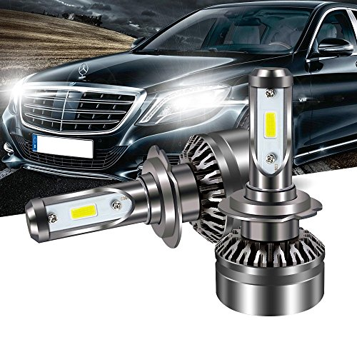 (TURBOSII LED Headlight Bulb H7 DOT Approved 6000LM Xenon White 6500K Led Fog Lights All-in-One Conversion Kit,1 Year Warrnty)