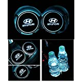 Bearfire Car Logo LED Cup Pad cup holder light USB Charging Mat Luminescent Cup Pad LED Mat Interior Atmosphere Lamp Decoration Light (Hyundai)