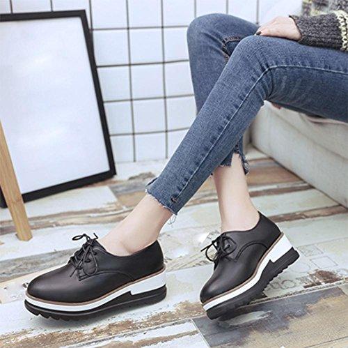 zapatos casuales Sra primavera y el otoño de la corteza gruesa de los zapatos del mollete elevador de encaje sencillos zapatos planos de las mujeres , US6.5-7 / EU37 / UK4.5-5 / CN37