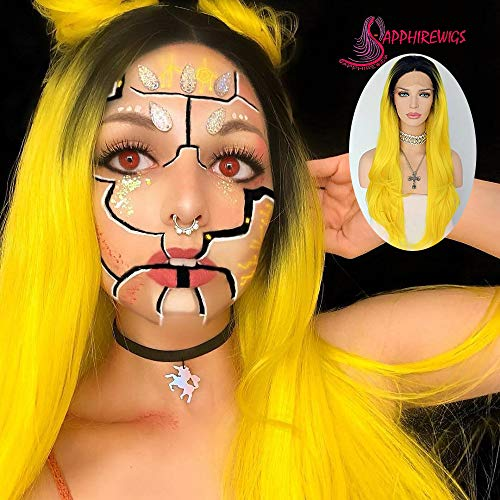 Sapphirewigs Black Ombre Yellow Color Glueless Daily Makeup Synthetic Lace Front -