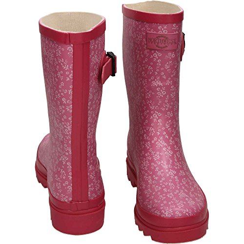Northwest Territory Rubber Wellington Mid Calf Boots Floral Print Pink Pink p4HA3f