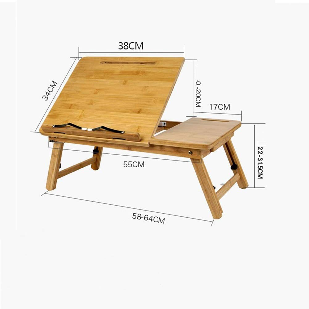 Tables XUERUI Furniture Natural Bamboo 100% Portable Bamboo Notebook Computer Support Foldable Desk Bed Tray Bed Bed Play Games Desk with Drawer Durable (Color : Natural Bamboo, Size : 55x34x22cm)