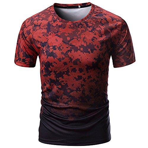 Sunhusing Men's Gradient Camouflage Print Sports Short Sleeve Slim T-Shirt Casual Round Neck Top Blouse