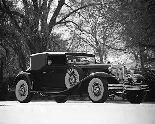 Convertible Victoria (1931) Car Art Poster Print on 10 mil Archival Satin Paper Black and White Front Side Static View 16