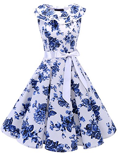 Bridesmay Women's Sleeveless Ruffle Collar 50s Floral Vintage Rockabilly Swing Cocktail Party Dress White Blue Flower L -