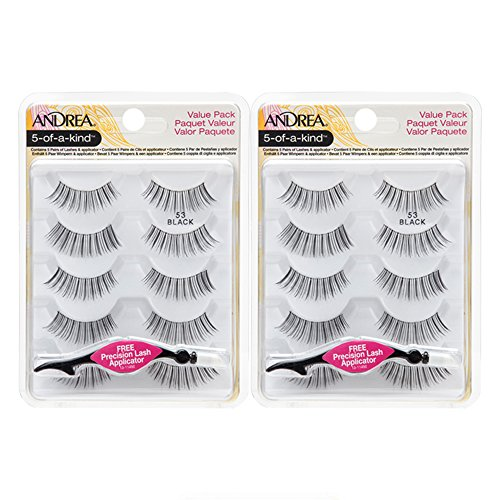 Andrea Natural False Eyelashes Pack #53 with Lash Applicator, 2 Pack
