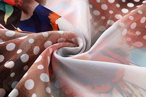 WEIYAN Women's Summer Tops Loose Chiffon Kimono Cardigan Blouse (Big Flower, M) by WEIYAN (Image #8)