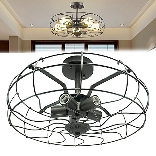 Vintage Ceiling Light (Industrial Vintage Lighting Ceiling Chandelier 5 Lights Semi Flush Mount Oil Rubbed Bronze Light Fixtures Fan Style Rustic Pendant Lamp Cage Metal for Hallway Farmhouse Barn Foyer 110v 120v E26 E27)