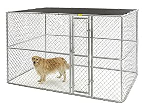 MIDWEST HOMES for PETS K91066 Chain Link Portable Kennel with Sunscreen, 10 by 6 by 6-Inch