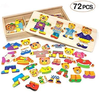 Lewo Puzzle de Madera Juguetes para niñas Familia del Oso Juegos ...