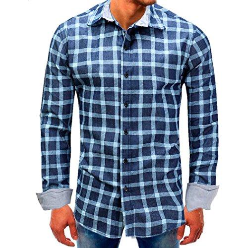 Price comparison product image TAORE Mens t shirts Men's Checked Color Block Shirt Long Sleeve Non-Iron Casual Blouse Cotton Slim Fit Plaid Shirt Top (USXS=Asian sizeL, S01-Blue)