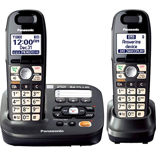 Panasonic DECT 6.0 Plus Cordless Amplified Phone with Digital Answering System Expandable to 6 Handsets Talking Caller ID - 2 Handsets Included (KX-TG6592T)