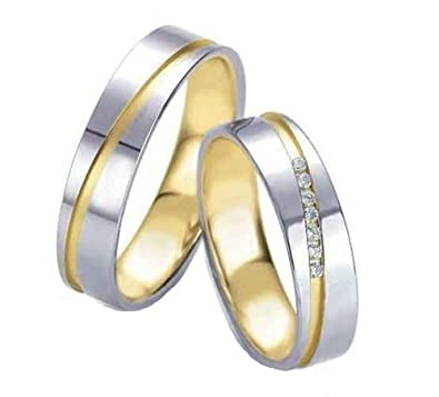 Anillos de boda, anillos de compromiso, alianzas, de titanio con diamante y circonita, grabado: Amazon.es: Joyería