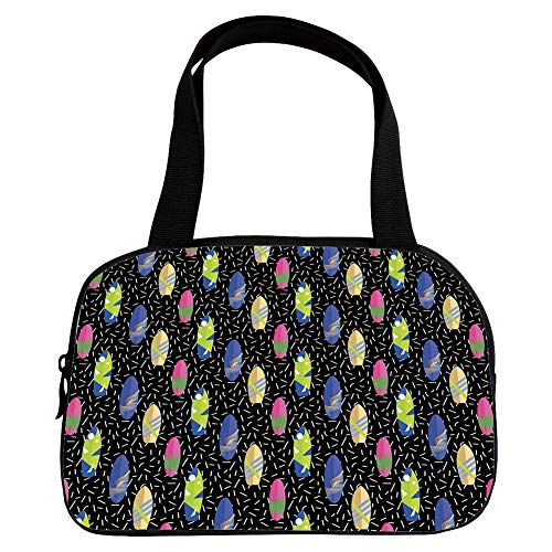 iPrint Strong Durability Small Handbag Pink,Surfboard,Colorful Boards in Memphis 80s Retro Style Abstract Summer Themed Fun Pattern Decorative,Multicolor,for Students,3D Print - Tap Handle Surfboard