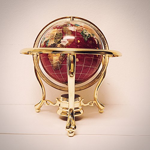 Unique Art 10-Inch Tall Table Top Pink Pearl Swirl Ocean Gemstone World Globe with Gold Tripod Stand (Pink Pearl) ()