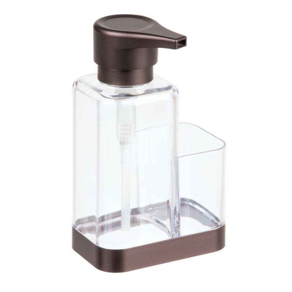 InterDesign Bruschia Kitchen Countertop Soap Dispenser Pump and Sponge/Scrubby Caddy Organizer - Clear/Copper 68589