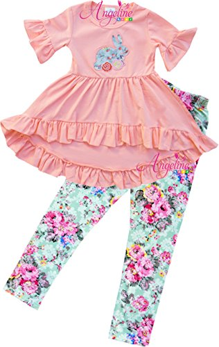 Boutique Clothing Girls Easter Bunny Rosette Floral Hi-Low Tunic Set Peach (Easter Boutique)