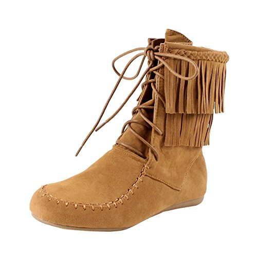 Forever Candice-22 Women's Sassy Two Layer Fringe Moccasin Ankle Booties,Tan,8.5