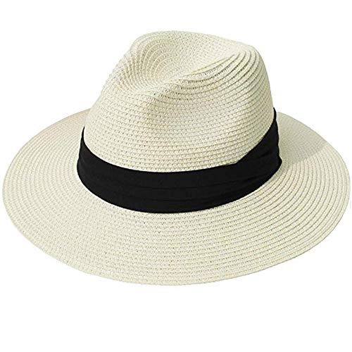 Womens Wide Brim Straw Panama Hat Fedora Summer Beach Sun Hat UPF50 -