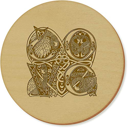 Azeeda 6 x 'Celtic Love Birds' 95mm Round Wooden Coasters (CR00005623) (Birds Love Celtic)