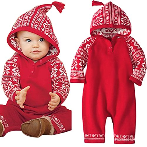 Newborn Baby Boys Girls Christmas Snowflake Print Hooded Romper Oneses XMAS Gift Jumpsuit Outfits (0-6Months/70cm, Red)