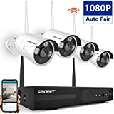 [Full HD]Security Camera System Wireless,SMONET 4CH 1080P Wireless Video Security System(NVR KITS),4pcs 1080P Wireless Indoor/Outdoor Wireless IP Cameras,P2P,65ft Night Vision,Easy Remote View,NO HDD