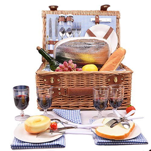 SatisInside Upgraded Insulated 2020 USA Luxury 28pcs Wicker Picnic Basket for 4 - Reinforced Handle - Blue Gingham ()