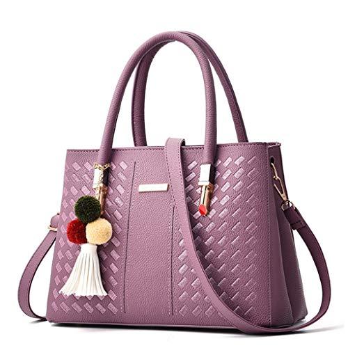 Femmes Sac À Main PU Sac À Main Polyvalent Épaule Messenger Bag 8 Couleurs (29 * 21 * 13cm) (Couleur : Purple)