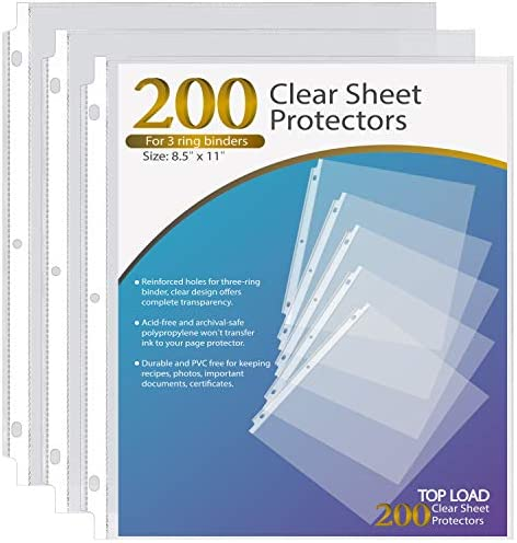 Ktrio Sheet Protectors 8.5 x 11 Inches Clear Page Protectors for three Ring Binder, Plastic Sleeves for Binders, Top Loading Paper Protector Letter Size, 200 Pack