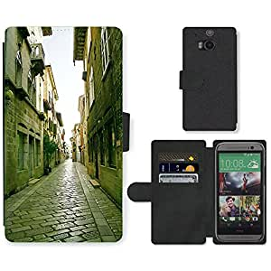 Hot Style Cell Phone Card Slot PU Leather Wallet Case // M00169260 Old Street Old Town Architecture // HTC One M8