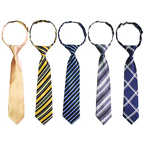 kilofly Pre-tied Adjustable Neck Strap Tie Boys Baby Necktie Value Set of 5 (Boys Ties Bundle)