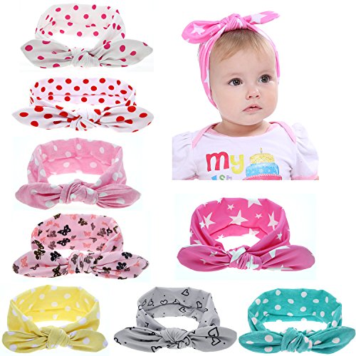 Globalsupplier Boutique Stretch Bows Ears Headband Set for Newborn Infant Baby Girl Kids Toddlers (8 PCS PACK S13)