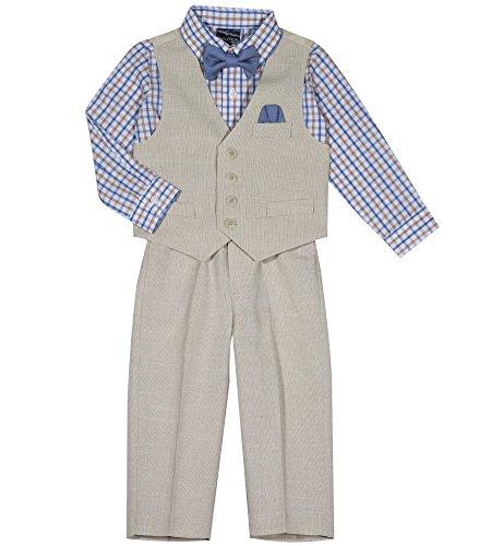 Nautica Boys' 4-Piece Vest Set with Dress Shirt, Bow Tie, Vest, and Pants, Khaki Linen, 18 Months