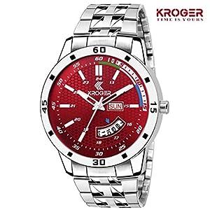 K-KROGER Metalic Stainless Steel Red Dial Analog Men's Watch & Boy's Wristwatch KRG1128