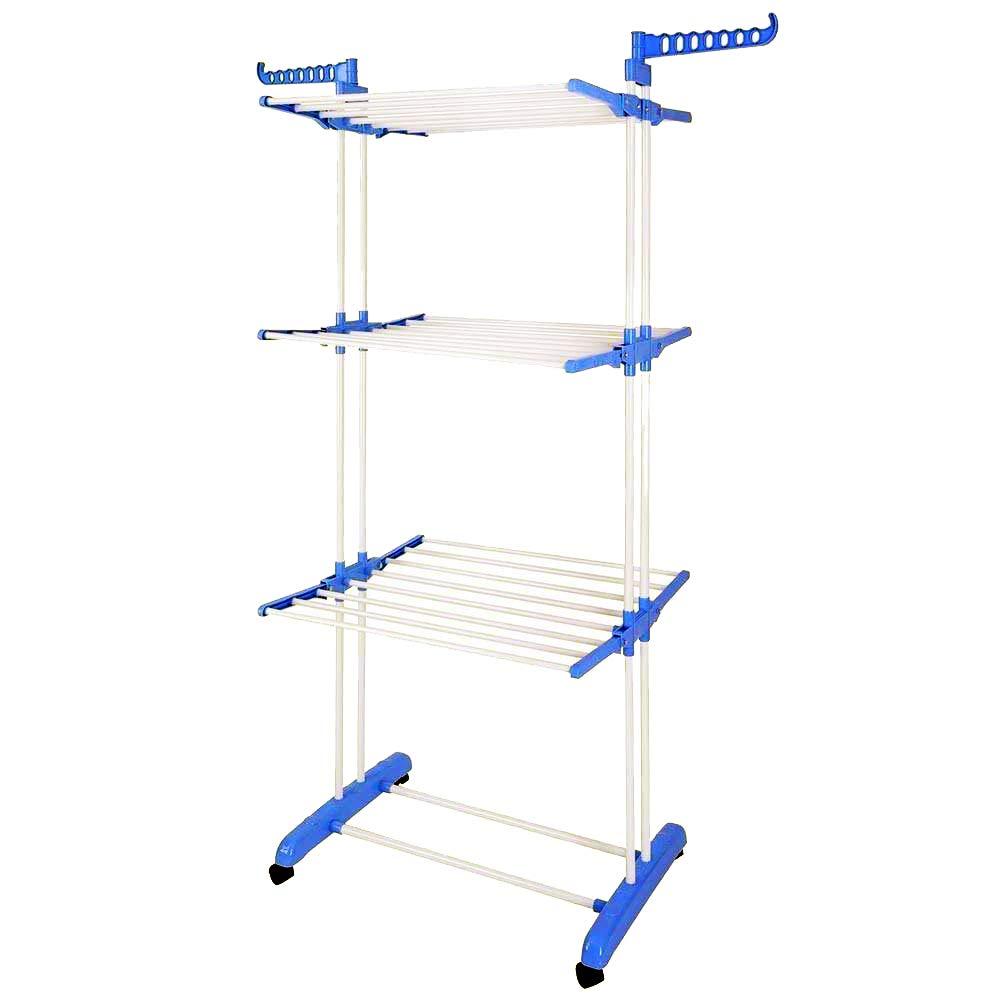 BonBon 3 Tier Clothes Drying Rack Folding Laundry Dryer Hanger Compact Storage Steel Indoor Outdoor (Grey) (White)