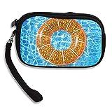 Summer Orange Fruit Swim Ring Comfortable Coin Purse Storage Package Wallet Zipper Change Holder Bag Key Wristlet Wallet Handbag Wallet Zipper Mini Wallet For Men & Women