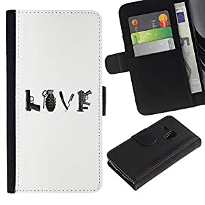 iKiki Tech / Cartera Funda Carcasa - Love Peace War Quote Gun Grenade - Samsung Galaxy S3 MINI NOT REGULAR! I8190 I8190N