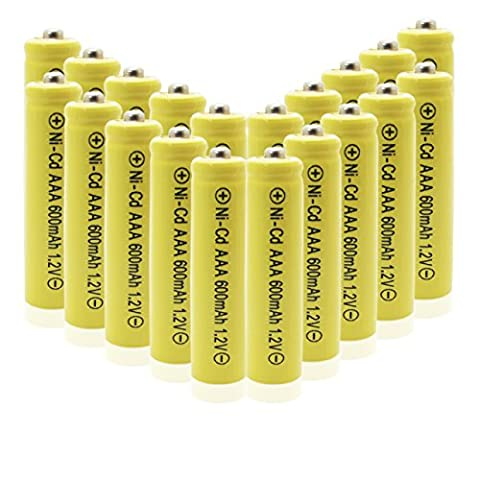 Geilienergy 20 Piece Yellow Color Triple A AAA Size NiCd 600mAh 1.2V Rechargeable Battery For Solar Lamp Solar - Rechargeable Aaa Nicd Battery