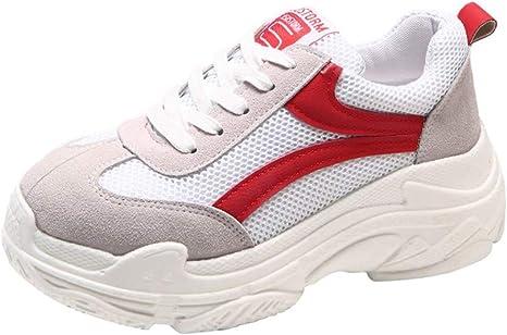 LuckyGirls Zapatillas De Correr para Mujer Malla Splicing Calzado Deportivo Zapatos con Cordones Casuales Zapatillas de Suela Gruesa: Amazon.es: Deportes y aire libre