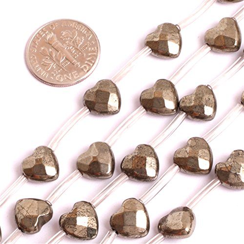 9mm Natural Semi Precious Faceted Heart Pyrite Gemstone Beads for Jewelry Making Strand - Heart Gemstone Beads