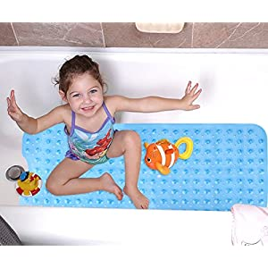 Wimaha Extra Long Bath Mats, Shower Mats Mildew Resistant Non-slip Pebbled Bathtub Mats with Suction Cup for Bathroom…