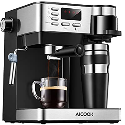 AICOOK Espresso and Coffee Machine, 3 in 1 Combination 15 Bar Espresso Machine and Single Serve Coffee Maker With Coffee Mug, Milk Frother for Cappuccino and Latte by AICOOK