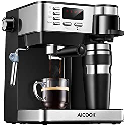Aicook Espresso and Coffee Machine, 3 in 1 Combination 15Bar Espresso Machine and Single Serve Coffee Maker With Coffee Mug, Milk Frother for Cappuccino and Latte, Black